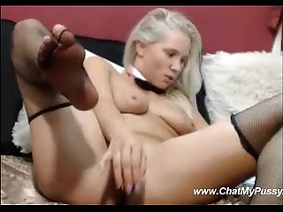 Pretty blonde fucks herself with dildo on webcam