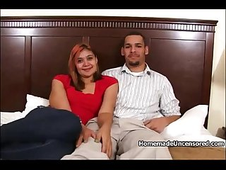 Latino couple making home porno