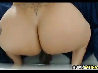 Huge latin booty riding dildo