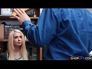 Hot blonde teen fucked in front of her dad by security