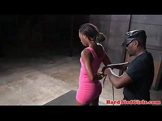 Ebony submissive whipped while tied up