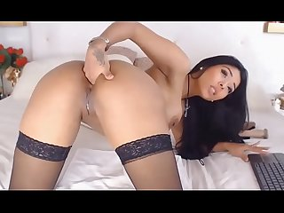 HUBPP.COM Latina sex show with dildo, pussy and anal sex, black nylon stockings