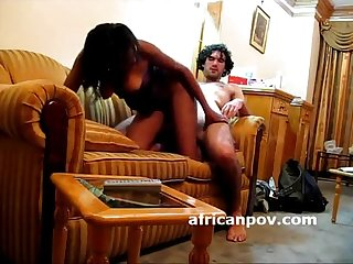 Ebony sex on the sofa