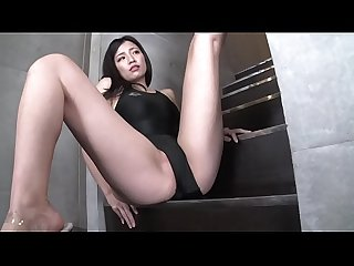Maria Sano High-leg swimsuit black (part1) legs-fetish image video no sound solo
