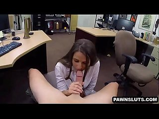 Brunette babe sucking on a hard cock at the pawn shop