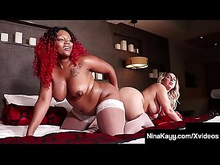 Curvy Cunt Stuffer Nina Kayy & Ebony Thick Red Dildo Fuck!