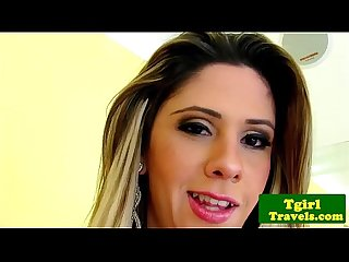 Glamour tgirl Nicole Balls tugs her cock