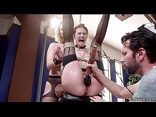 Gagged babe watching anal bdsm sex