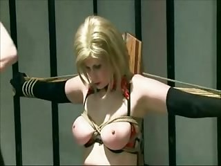 Tied milf with big naturals spanked and toyed