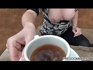 Lactation in the forest with real amateur milf
