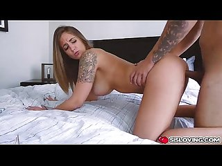 Layla London ride her shaved pussy on top of sly step bro