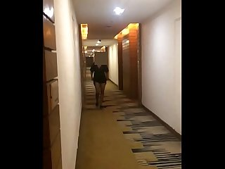 Desi wife pranya flashing in hotel corridor naked