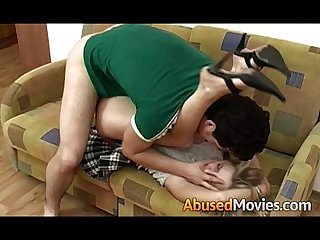 Hot brunette teen abused fuck on couch