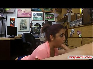 Hot amateur babe gives head and rammed at the pawnshop
