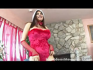 Big breasted mature santa slut fucked