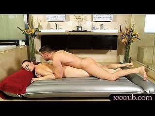Busty brunette woman gets Anal fucked by her masseur