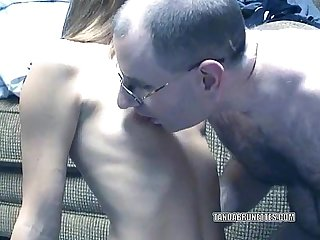 Brunette summer sucks an old dudes stiff cock