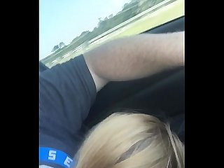 Sexy girlfriend sucking me off giving roadhead