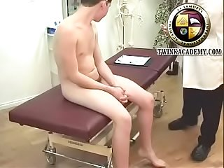 Hung british twink with long tight foreskin visits the doctor