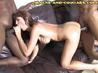 Cougar Takes Two Black Cocks