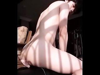 Sexy asian ride a dildo