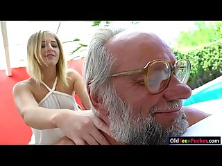 Russian blonde hottie aria logan give a massage to a grandpa