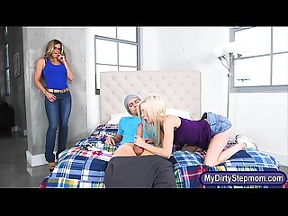 Big boobs stepmom joins teen couple fucking on the bed