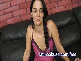 Skanky latina gets throated hard