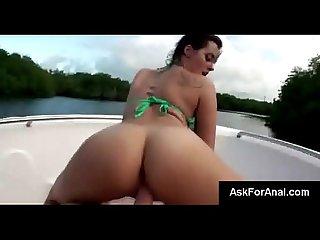 Frisky brunette girlfriend mandy begs to get asshole stuffed on the lake