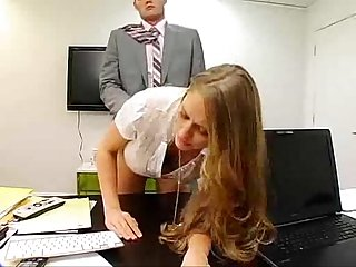 Secretary seducing boss by photocopying boobs and boss ass