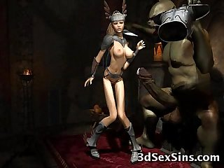 Weird monsters fuck 3d babes