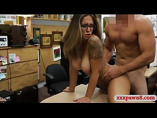 Hot amateur woman with glasses gets railed by pawn guy