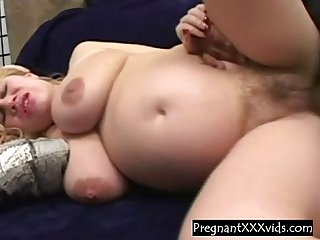 Hairy big tit preggo blonde dicked