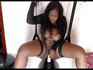 hd hot black latina with huge tits fucks herself