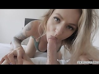 Sliding my big cock into stepmoms pussy