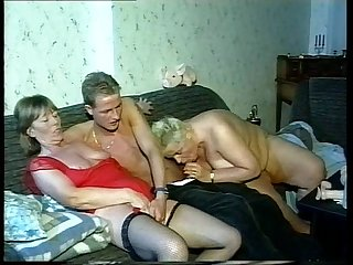 3 old grandmas start with lesbo games share a younger dick afterwards