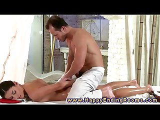 Horny masseur is hands on with client during his massage