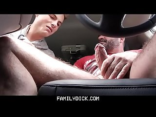 Muscle Bear dad fucks boy in car for smoking