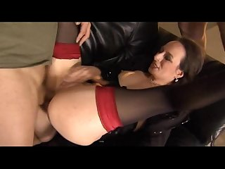 Mature german gal gets pounded hard in all holes by 2 guys
