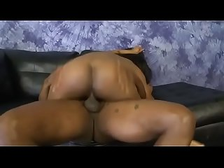 Filthy black ghetto whore rough mounted and face fucking