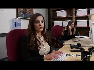 Lesbian colleagues anal toying and rimming