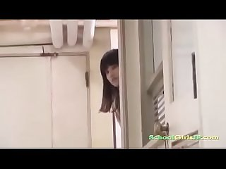 Japanese schoolgirl fucked by teacher in the corridor bench school