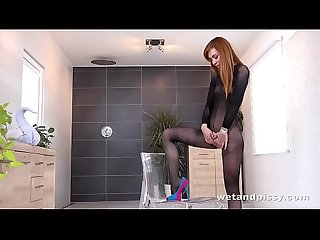 Wtf hot redhead Showers in her own pee