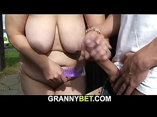 Blonde old grandma fuck on public