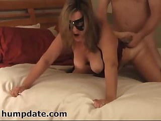 Masked wife with big tits gets doggystyled