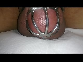 cumming in chastity device with vibrating egg ,hand free cum shot ,cock cage cum