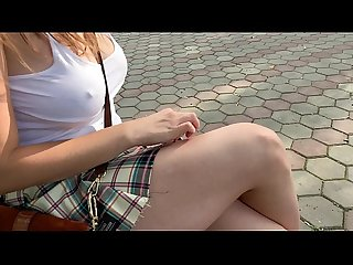 Schoolgirl caught in the park! She walks with the butt plug and fucks herself with a..