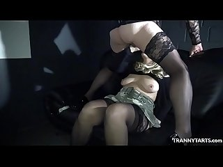 Theater gangbang with 1 female, 2 t-girls and 2 guys
