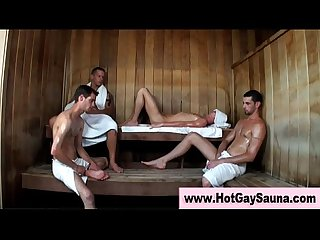 Steamy suck and fuck orgy in Sauna