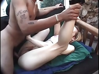 Blonde tranny with small titties loves to ride a cock on the couch